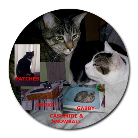 Cats By Debbie   Collage Round Mousepad   W4hyqtp1w3tn   Www Artscow Com 8 x8 Round Mousepad - 1