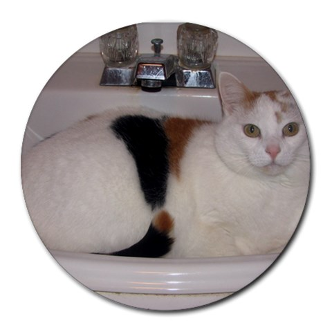 Kiki In The Sink By Patti Troyer Stevens   Round Mousepad   J7kzjib5aw0x   Www Artscow Com Front
