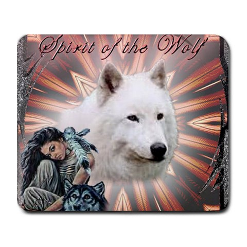 Spirit Of The Wolf Mousepad By Mary Tiller Campbell   Collage Mousepad   Aih0ybx84hi9   Www Artscow Com 9.25 x7.75 Mousepad - 1