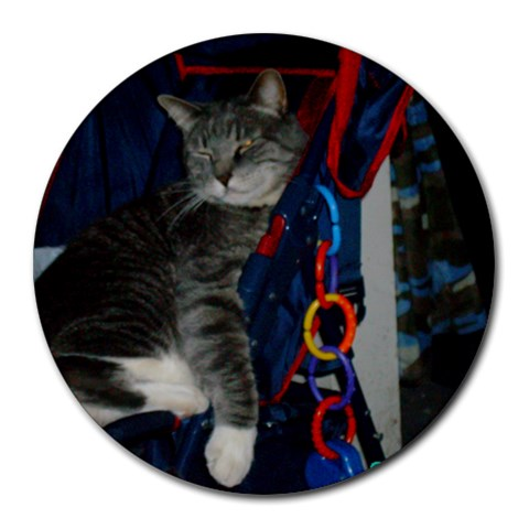 Eddie Cat Mousepad By Andrea Amy   Round Mousepad   Osszu1n3bobi   Www Artscow Com Front