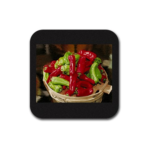 Chili Peppers Coasters By Anne Frey   Rubber Coaster (square)   B0k1d83bltym   Www Artscow Com Front