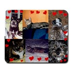 6 with hearts - Large Mousepad
