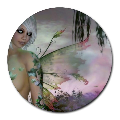 Blonde Ivy Fairy By Sandy Wright Cluley   Round Mousepad   6fdgffnylyhw   Www Artscow Com Front
