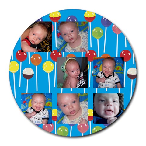 Damian Mousepad By Caroline Kirby   Collage Round Mousepad   Lii09ilzk8a3   Www Artscow Com 8 x8 Round Mousepad - 1