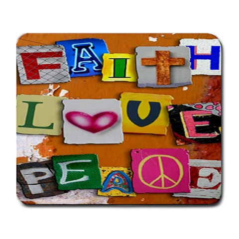 Faith Love Peace Mousepad By Sandra Ott Lantrip   Large Mousepad   K4de8dtelpo9   Www Artscow Com Front
