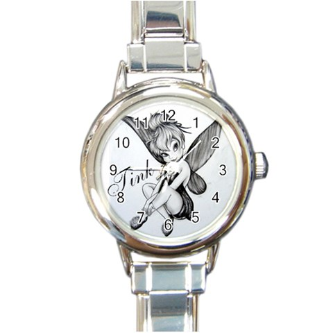 Tinkerbell Watch By Janie   Round Italian Charm Watch   Hz8lz61q7co4   Www Artscow Com Front