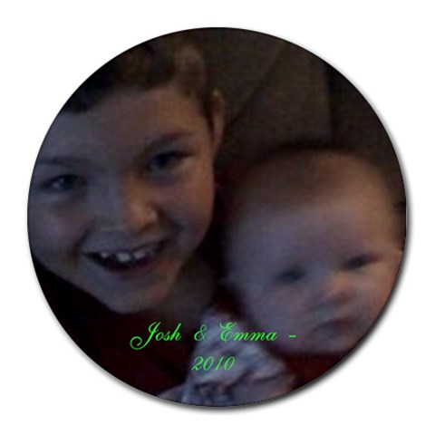 Josh And Emma By Christy Spaulding   Collage Round Mousepad   Bb80whihy8ox   Www Artscow Com 8 x8 Round Mousepad - 1