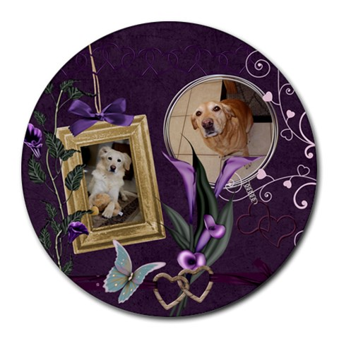 The Dogs Mousepad By Michelle   Round Mousepad   Z0srww8hiw61   Www Artscow Com Front