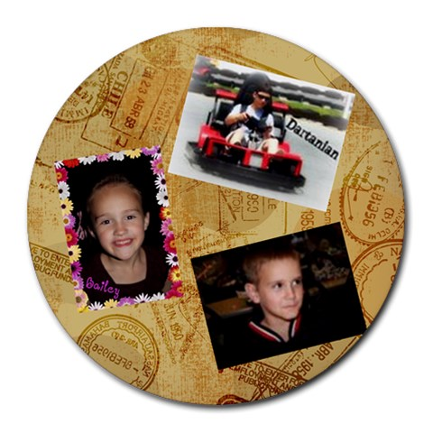 My Three Kiddos By Alisha Hardin(brown Krajnik)   Collage Round Mousepad   Ypgibv4zd523   Www Artscow Com 8 x8 Round Mousepad - 1