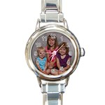 Italian charm watch with the girls bday pic on it!!!  - Round Italian Charm Watch