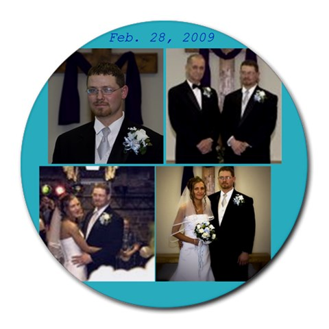 Wedding By Tasha George   Collage Round Mousepad   My6vvhn4mx04   Www Artscow Com 8 x8 Round Mousepad - 1