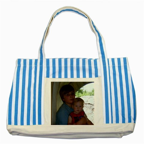 Another Tote Bag    By Beth   Striped Blue Tote Bag   B43x6xe8akq3   Www Artscow Com Front