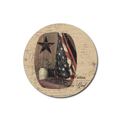 One Nation Under God Round Coaster By Trina Embly   Rubber Coaster (round)   Nlaal0lwm6z0   Www Artscow Com Front
