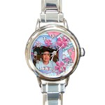 blue watch - Round Italian Charm Watch
