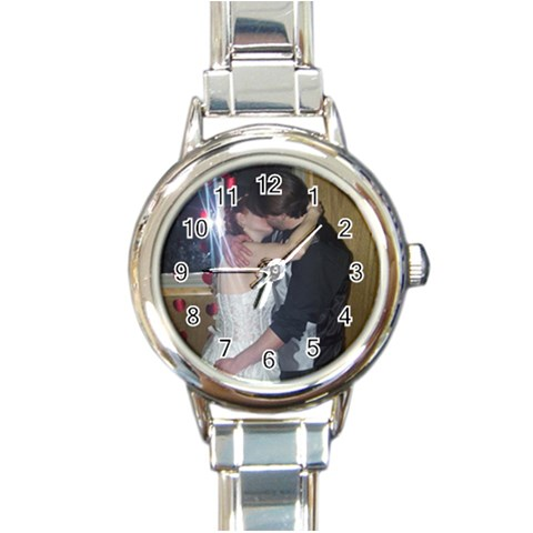 Our Wedding Day By Carole Abbey   Round Italian Charm Watch   K6ju5td98ea9   Www Artscow Com Front