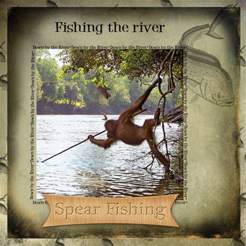 Orangatang Spear Fishing Page By Danielle Christiansen   Scrapbook Page 12  X 12    I88y2gdx0rt7   Www Artscow Com 12 x12 Scrapbook Page - 1