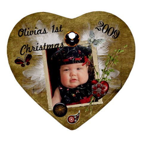 Olivia s 1st Christmas Ornament 2009 By Kate   Ornament (heart)   Pvnwcmrfcvq4   Www Artscow Com Front