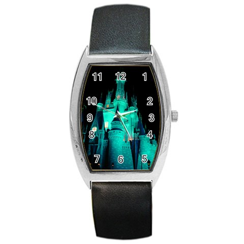 Blue Side Castle Watch By Terri   Barrel Style Metal Watch   Qhmnxrhoahuh   Www Artscow Com Front