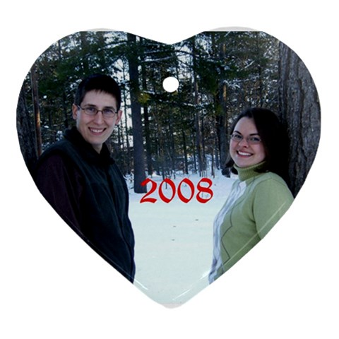 Our 2008 Christmas Ornament  By Rachel Hull   Ornament (heart)   4xvvbeoq7fqn   Www Artscow Com Front
