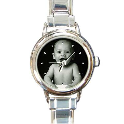 Devi Baby Pic Watch By Stacy Bissoon   Round Italian Charm Watch   Ef6cccvlyl73   Www Artscow Com Front