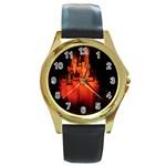 Orange Castle - Round Gold Metal Watch
