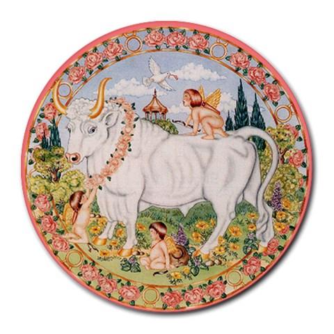 Taurus Zodiac Mousepad By Enkay   Round Mousepad   J0vj24y7g1em   Www Artscow Com Front