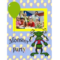 "Monster Party Invitaion Boy    4 5"" X 6"" Greeting Cards By Carmensita   Greeting Card 4 5  X 6    E7h1p5mm0urx   Www Artscow Com Front Cover"
