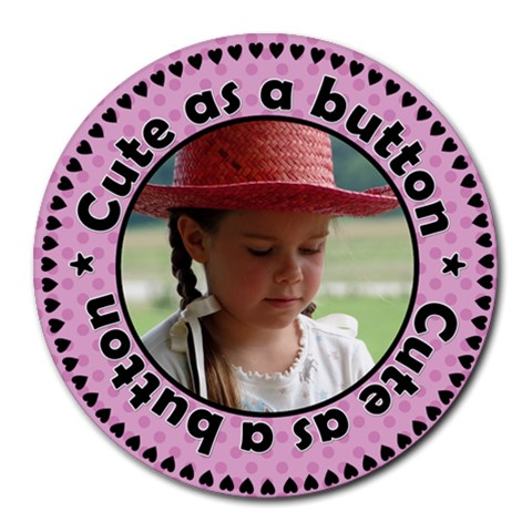 Cute As A Button Girl Mousepad By Klh   Round Mousepad   B9nx0jhggal1   Www Artscow Com Front