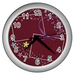 Glitter & Flowers  - Wall Clock (Silver)