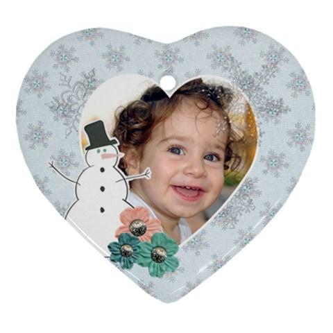 Snowman Heart Ornament By Mikki   Ornament (heart)   Afzmayumcnmi   Www Artscow Com Front