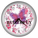 Butterfly - Wall Clock (Silver)