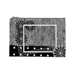 Cosmetics Bag Large Black & White By Angel   Cosmetic Bag (large)   Hbro27bp9550   Www Artscow Com Front