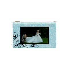 Bridal Cosmetic Bag Blue By Catvinnat   Cosmetic Bag (small)   75db3hdenxis   Www Artscow Com Front
