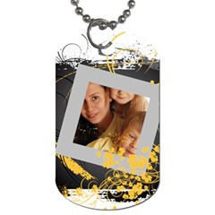 Flower Tag By Wood Johnson   Dog Tag (two Sides)   Scnsc4pia0jm   Www Artscow Com Front