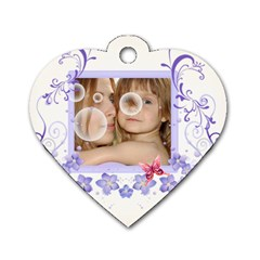 Flower Tag By Wood Johnson   Dog Tag Heart (two Sides)   Ey86v3g3mg98   Www Artscow Com Front