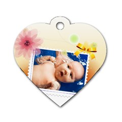 Flower Tag By Wood Johnson   Dog Tag Heart (two Sides)   Tjb7irmu811q   Www Artscow Com Front