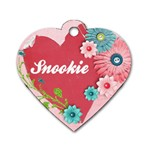 Pink Floral Dog Tag - Dog Tag Heart (Two Sides)