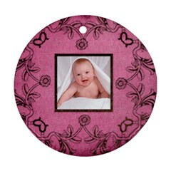 Pink Art Nuveau Ornament By Catvinnat   Round Ornament (two Sides)   Whf03u9ipohe   Www Artscow Com Front