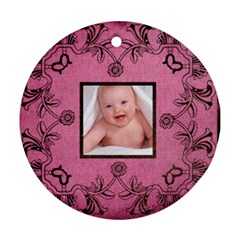 Pink Art Nuveau Ornament By Catvinnat   Round Ornament (two Sides)   Whf03u9ipohe   Www Artscow Com Back