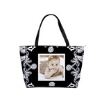 Art Nouveau Black & White Classic Shoulder Bag - Classic Shoulder Handbag