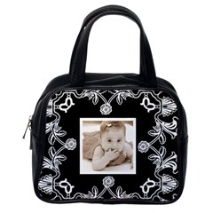 Art Nouveau Black & White Handbag By Catvinnat   Classic Handbag (two Sides)   12ub1tehs8q0   Www Artscow Com Back