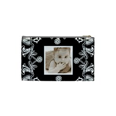 Art Nouveau Black & White Small Cosmetic Bag By Catvinnat   Cosmetic Bag (small)   N34klfs48o3s   Www Artscow Com Back