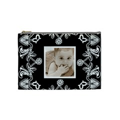 Art Nouveau Black & White Medium Cosmetic Bag By Catvinnat   Cosmetic Bag (medium)   3g6b2uuxwgjp   Www Artscow Com Front