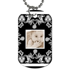 Art Nouveau Black & White Dog Tag By Catvinnat   Dog Tag (two Sides)   Yvj0yl63hrua   Www Artscow Com Front