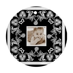 Art Nouveau Black & White Round Ornament By Catvinnat   Round Ornament (two Sides)   Dpurk12rch2a   Www Artscow Com Front