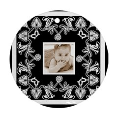 Art Nouveau Black & White Round Ornament By Catvinnat   Round Ornament (two Sides)   Dpurk12rch2a   Www Artscow Com Back