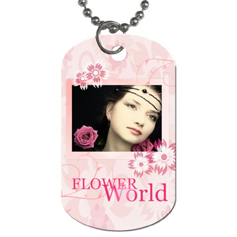 Flower World By Joely   Dog Tag (one Side)   Fn4pwen0rx86   Www Artscow Com Front