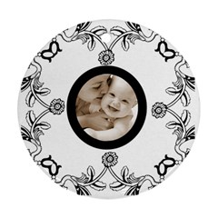 Baby Love Black & White Round Ornament By Catvinnat   Round Ornament (two Sides)   Rl4ksjxklx8n   Www Artscow Com Front