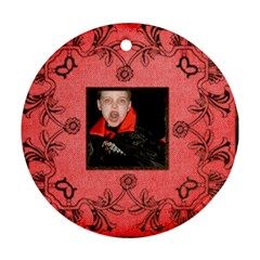 Vampire Halloween  Round Ornament By Catvinnat   Round Ornament (two Sides)   7jxt5r2n3y2z   Www Artscow Com Back