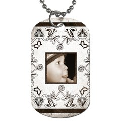 Art Nouveau White & Black Dog Tag By Catvinnat   Dog Tag (two Sides)   7w91fhqdo68g   Www Artscow Com Front